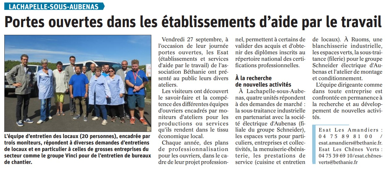 Article Dauphiné 29 09 2019